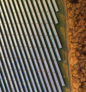 Drone shot of solar panels